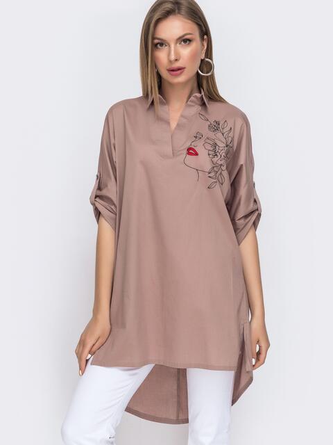 Бежевая рубашка с вышивкой и удлиненной спинкой 49472, фото 1