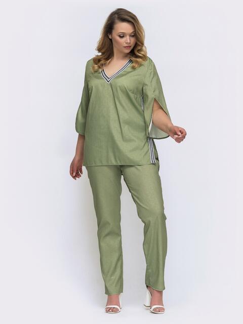 Комплект батал с кофтой и брюками цвета хаки 46268, фото 1