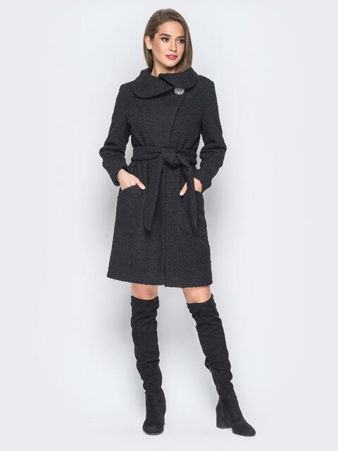 Пальто черного цвета из букле с воротником-хомут - 18256, фото 1 – интернет-магазин Dressa