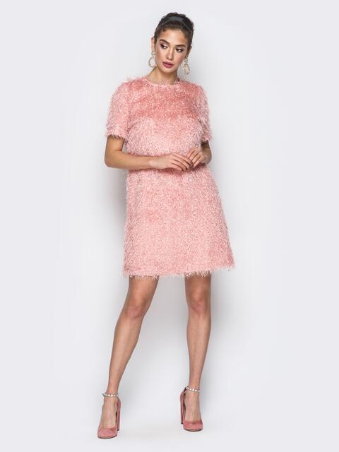 """Платье розового цвета из трикотажа """"травка"""" - 18379, фото 1 – интернет-магазин Dressa"""