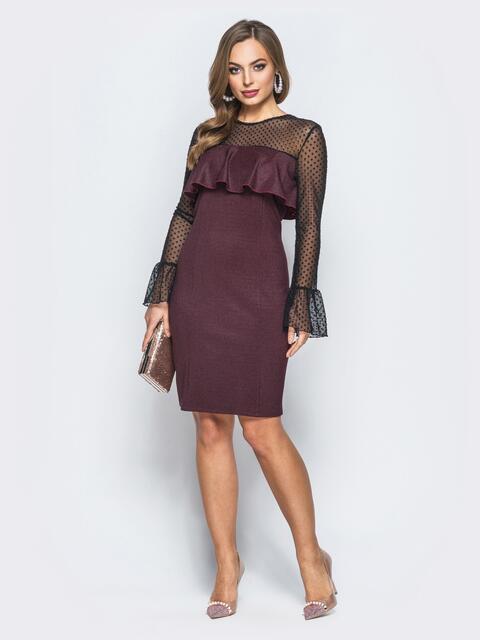 Платье с оборкой на полочке и рукавами из фатина бордовое - 18127, фото 1 – интернет-магазин Dressa
