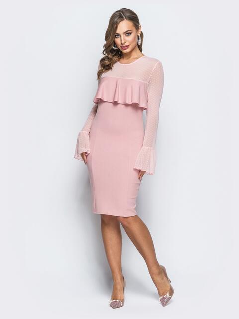 Платье с оборкой на полочке и рукавами из фатина розовое - 18126, фото 1 – интернет-магазин Dressa