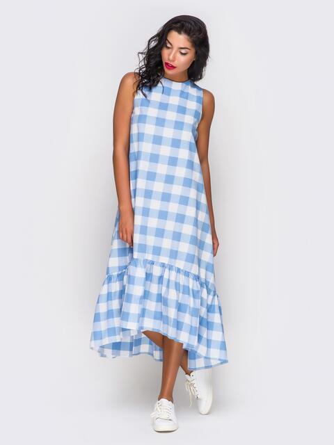 Платье в клетку с широкой оборкой по низу - 10815, фото 1 – интернет-магазин Dressa