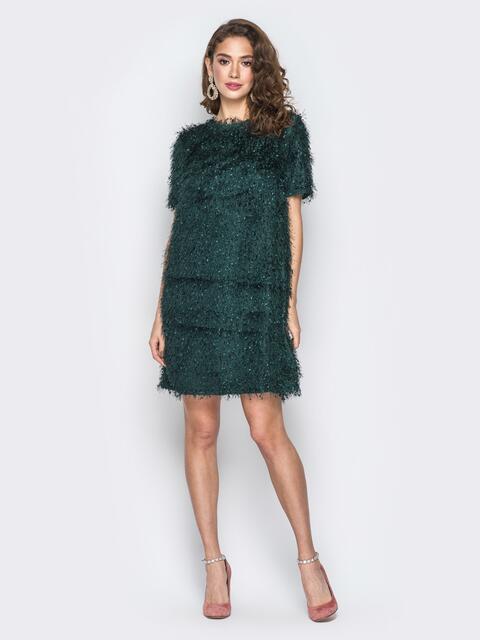 """Платье зелёного цвета из трикотажа """"травка"""" - 18378, фото 1 – интернет-магазин Dressa"""