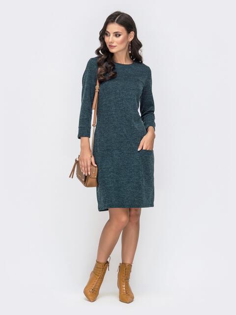Зеленое платье из фактурного трикотажа 41360, фото 1
