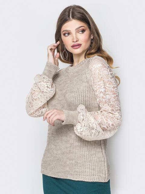 Бежевый свитер с рукавами-реглан из гипюра - 20129, фото 1 – интернет-магазин Dressa