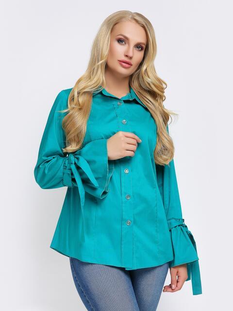 Бирюзовая блузка с рукавом-колокол на завязках - 22308, фото 1 – интернет-магазин Dressa