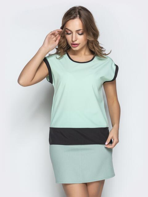 Мятная блузка прямого кроя с контрастной окантовкой - 21723, фото 1 – интернет-магазин Dressa
