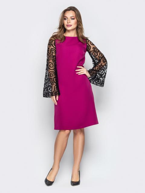 """Розовое платье А-силуэта с рукавами """"колокол"""" из  - 20332, фото 1 – интернет-магазин Dressa"""