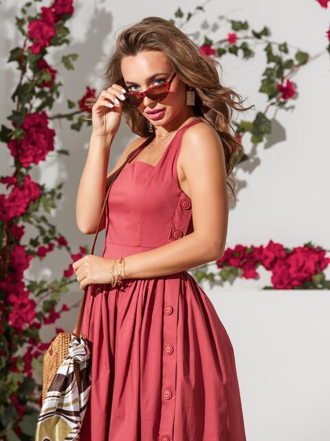 Розовый сарафан приталенного кроя из хлопка - 39311, фото 1 – интернет-магазин Dressa