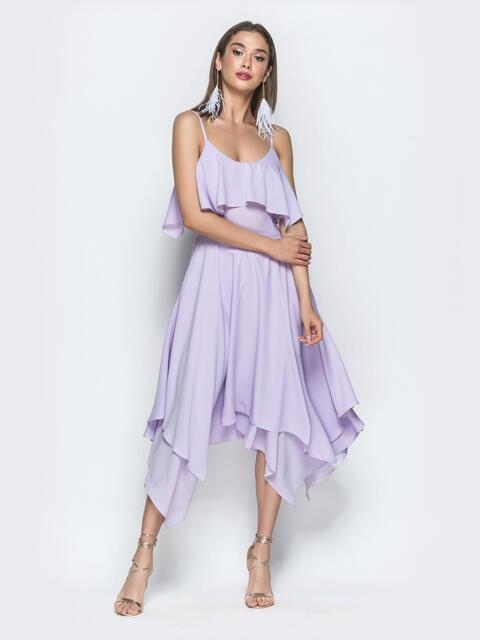 Сиреневое платье с воланом по верху и асимметричной юбкой 39391, фото 1