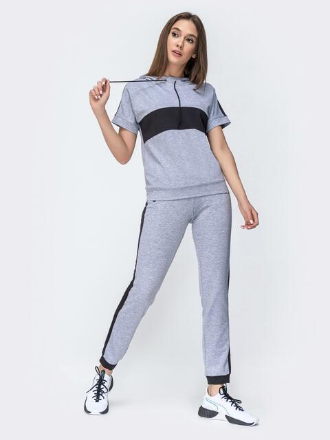 Спортивный костюм из футболки с капюшоном и брюк серый - 44670, фото 1 – интернет-магазин Dressa