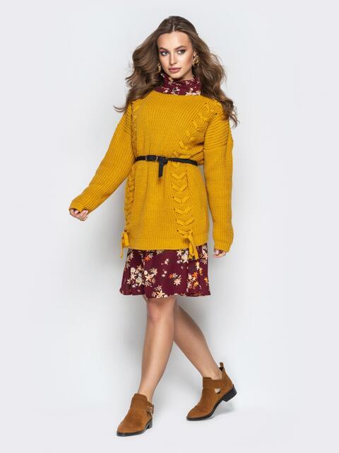 Жёлтый свитер oversize с прошитыми косами спереди - 20138, фото 1 – интернет-магазин Dressa