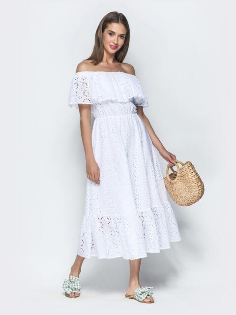 Белое платье-макси из прошвы с открытыми плечами - 39395, фото 1 – интернет-магазин Dressa