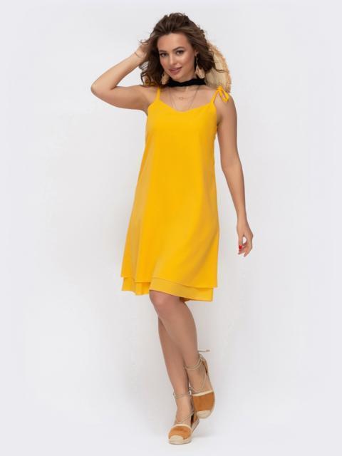 Двуслойный сарафан на бретелях-завязках желтый - 46695, фото 1 – интернет-магазин Dressa