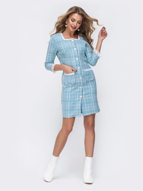 Голубое платье-пиджак из твида с контрастной окантовкой - 42804, фото 1 – интернет-магазин Dressa