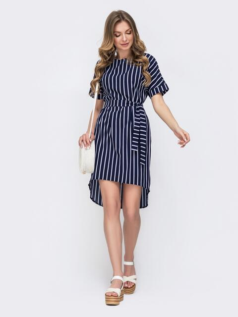 Платье в полоску с удлиненной спинкой тёмно-синее 46703, фото 1