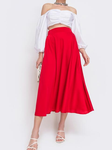 Расклешенная юбка красного цвета - 46708, фото 1 – интернет-магазин Dressa