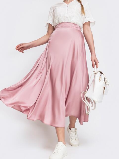 Расклешенная юбка розового цвета - 46706, фото 1 – интернет-магазин Dressa