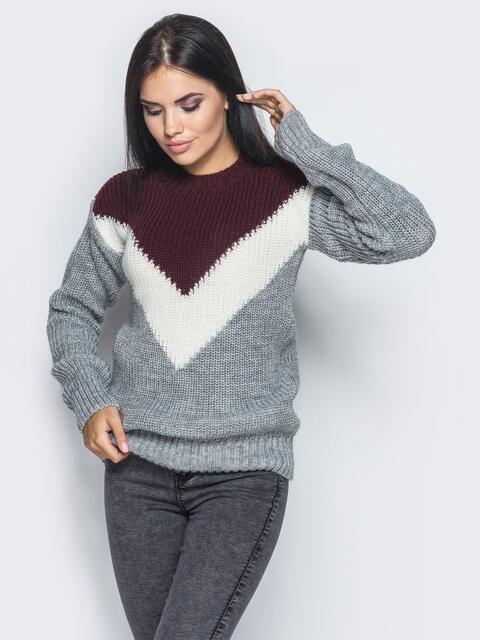 Серо-бордовый свитер с белой вставкой - 15995, фото 1 – интернет-магазин Dressa
