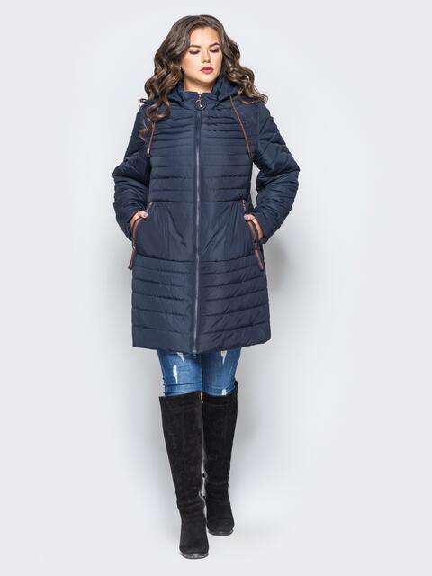 Удлиненная куртка со съемным капюшоном и заклёпкой на карманах тёмно-синяя - 16955, фото 1 – интернет-магазин Dressa