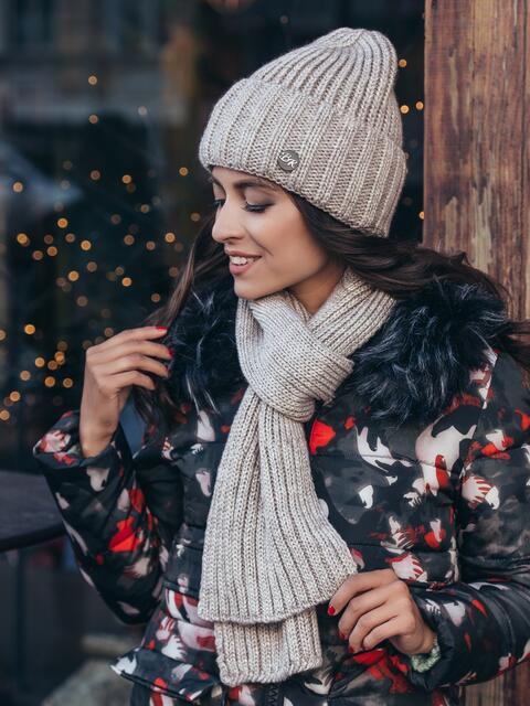 Вязанный комплект из шапки с шарфом бежевый - 40441, фото 1 – интернет-магазин Dressa