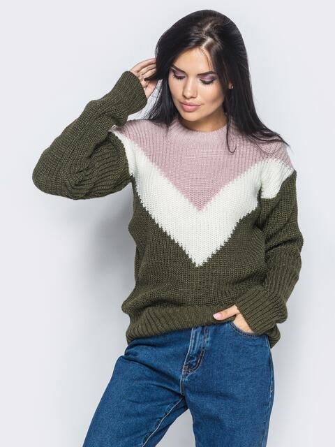 Зелёно-розовый свитер с белой вставкой - 16007, фото 1 – интернет-магазин Dressa