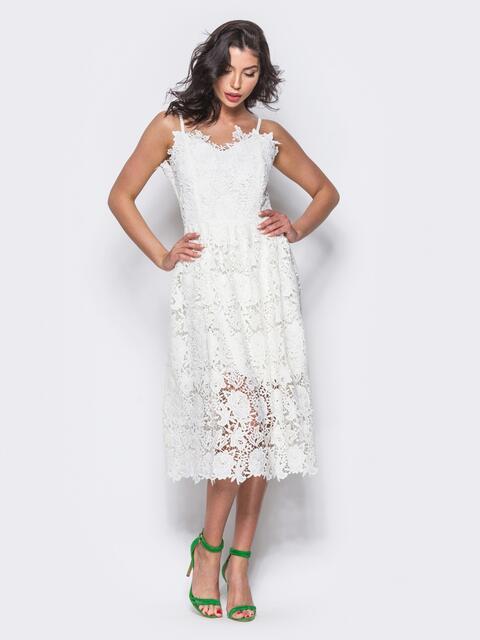 Белое кружевное платье на узких бретелях - 10890, фото 1 – интернет-магазин Dressa
