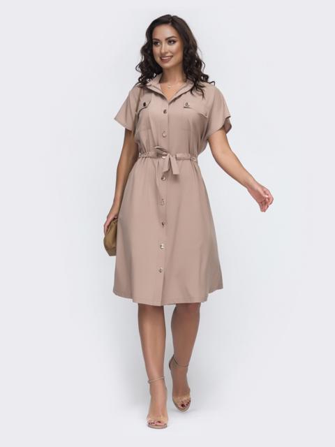 Бежевое платье-рубашка большого размера с кулиской по талии 49943, фото 1