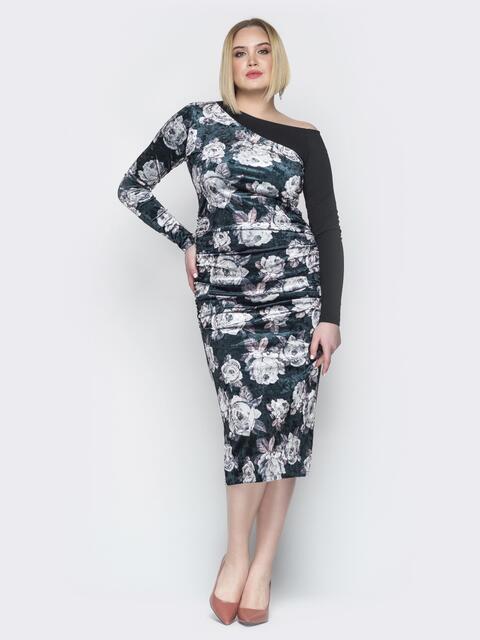 Чёрное платье с цветочным принтом на одно плечо - 19942, фото 1 – интернет-магазин Dressa