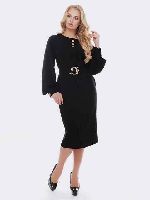 Черное платье с расклешенными рукавами - 19115, фото 1 – интернет-магазин Dressa