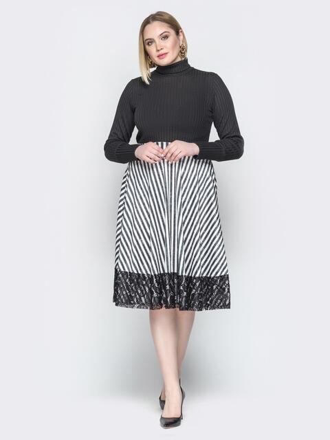 Чёрное платье с верхом-гольф и юбкой-клёш с гипюром - 19933, фото 1 – интернет-магазин Dressa
