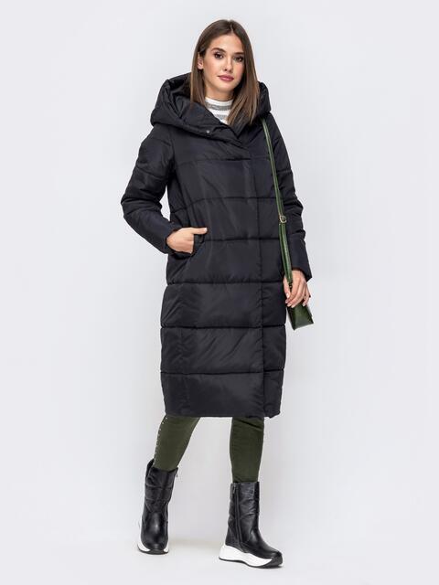 Длинная куртка прямого кроя с вшитым капюшоном чёрная 41245, фото 1