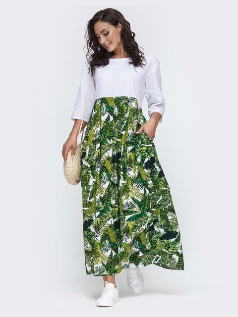 Длинное платье с принтованной юбкой большого размера белое 49945, фото 1