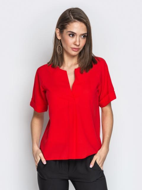 1b2dfcc1e82 Красная блузка свободного кроя с геометрическимным вырезом - 20777