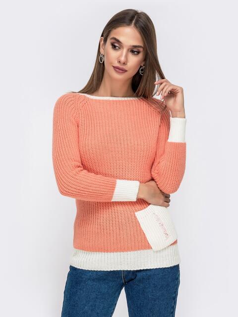 Оранжевый свитер крупной вязки с накладным карманом 41574, фото 1