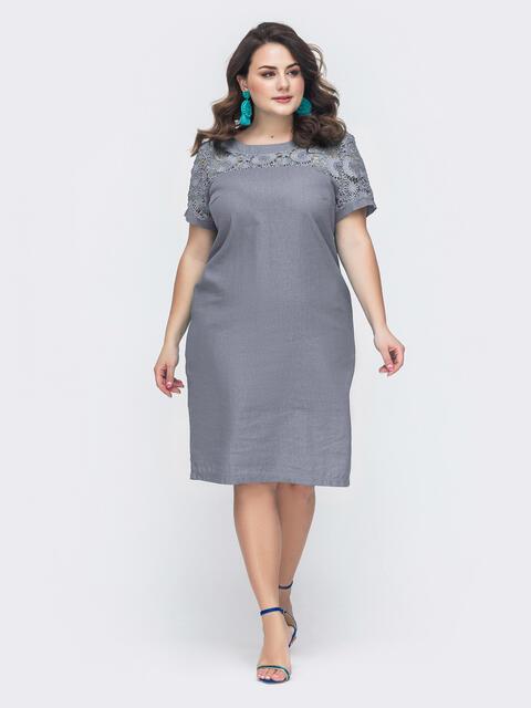 Платье батал с ажурной кокеткой тёмно-серое 49302, фото 1