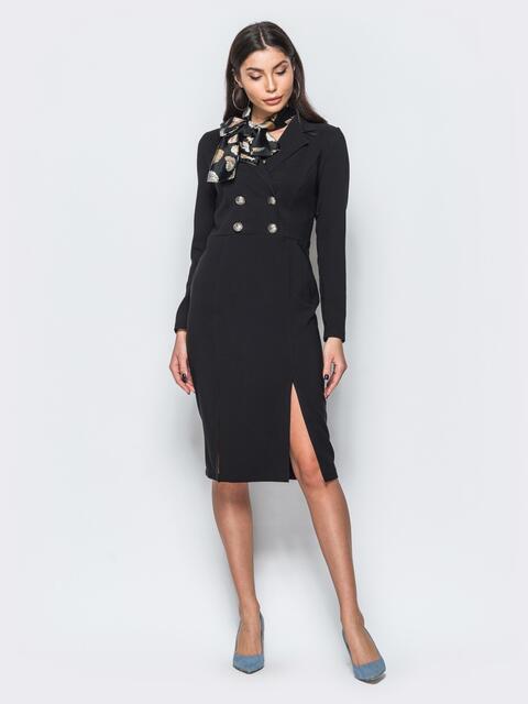 Платье-пиджак черного цвета с потайной молнией на спинке - 17584, фото 1 – интернет-магазин Dressa
