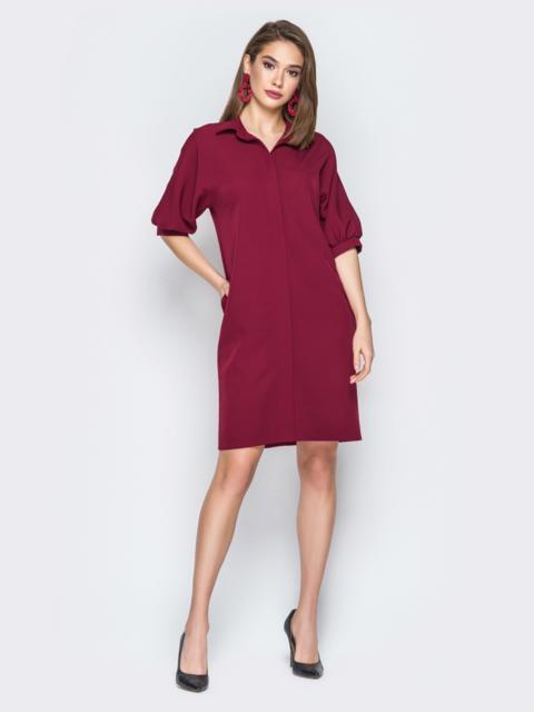 Платье прямого кроя с объемными рукавами бордовое - 20009, фото 1 – интернет-магазин Dressa