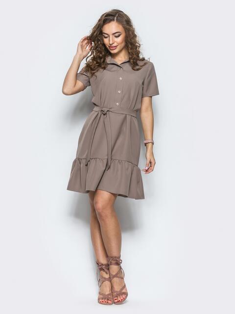 Платье-рубашка с отложным воротником и оборкой по низу бежевое 12705, фото 1