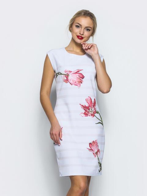 Платье в бежевую полосу с цветами - 12617, фото 3 – интернет-магазин Dressa