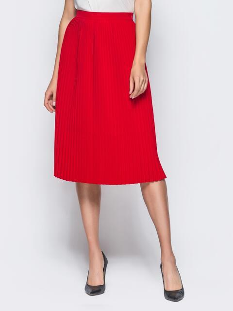 Плиссированная юбка с молнией сзади красная - 16249, фото 1 – интернет-магазин Dressa