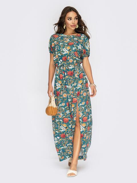 Принтованный костюм из блузки и юбки с резинкой по талии синий 54002, фото 1