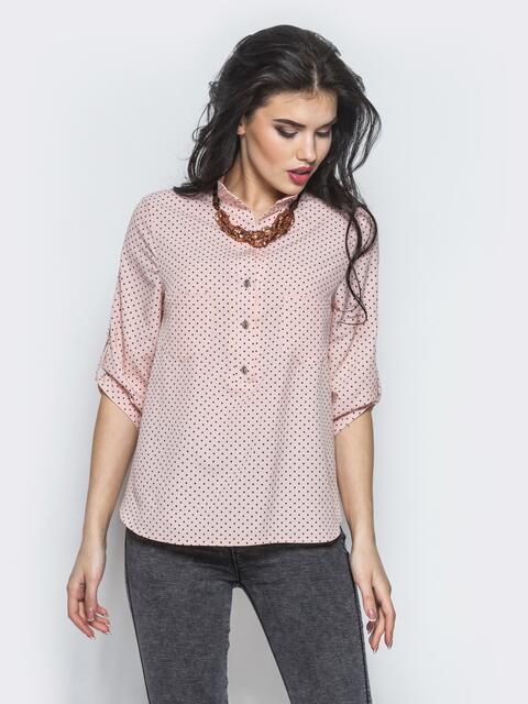 Розовая блузка с функциональными пуговицами на полочке - 12347, фото 1 – интернет-магазин Dressa