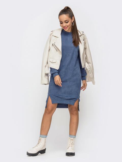 Синее платье из замши с удлиненной спинкой 50972, фото 1