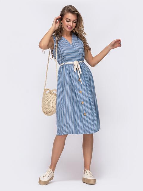 Свободное платье из льна в полоску синее - 48155, фото 1 – интернет-магазин Dressa