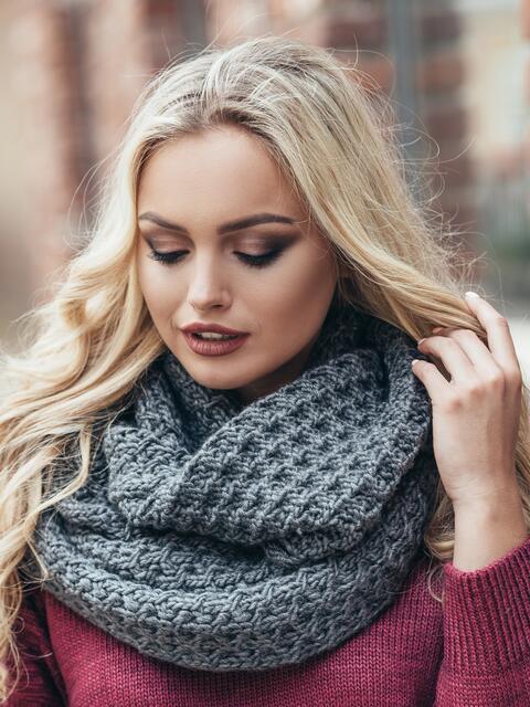 темно серый вязаный шарф хомут 15572 купить в киеве украине в