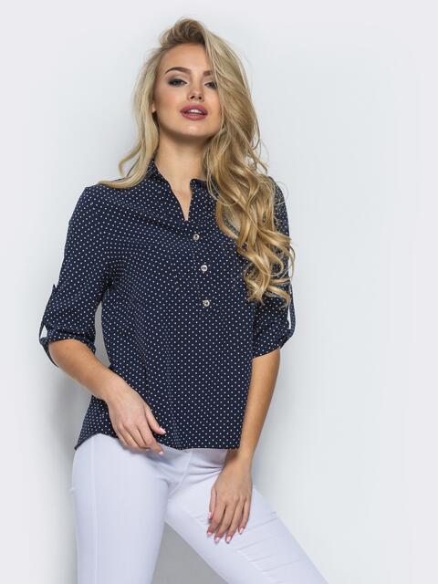 Тёмно-синяя блузка с функциональными пуговицами на полочке - 12346, фото 1 – интернет-магазин Dressa