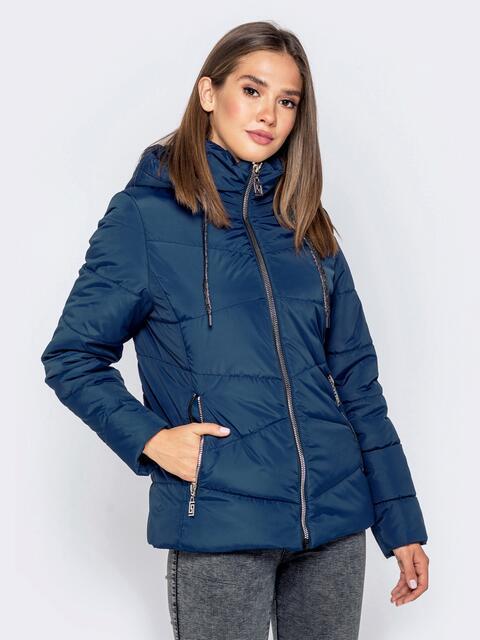 Тёмно-синяя куртка с воротником-стойкой и съёмным капюшоном 40910, фото 1