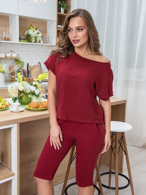 Трикотажная пижама из футболки и бридж бордовая - 20445, фото 1 – интернет-магазин Dressa